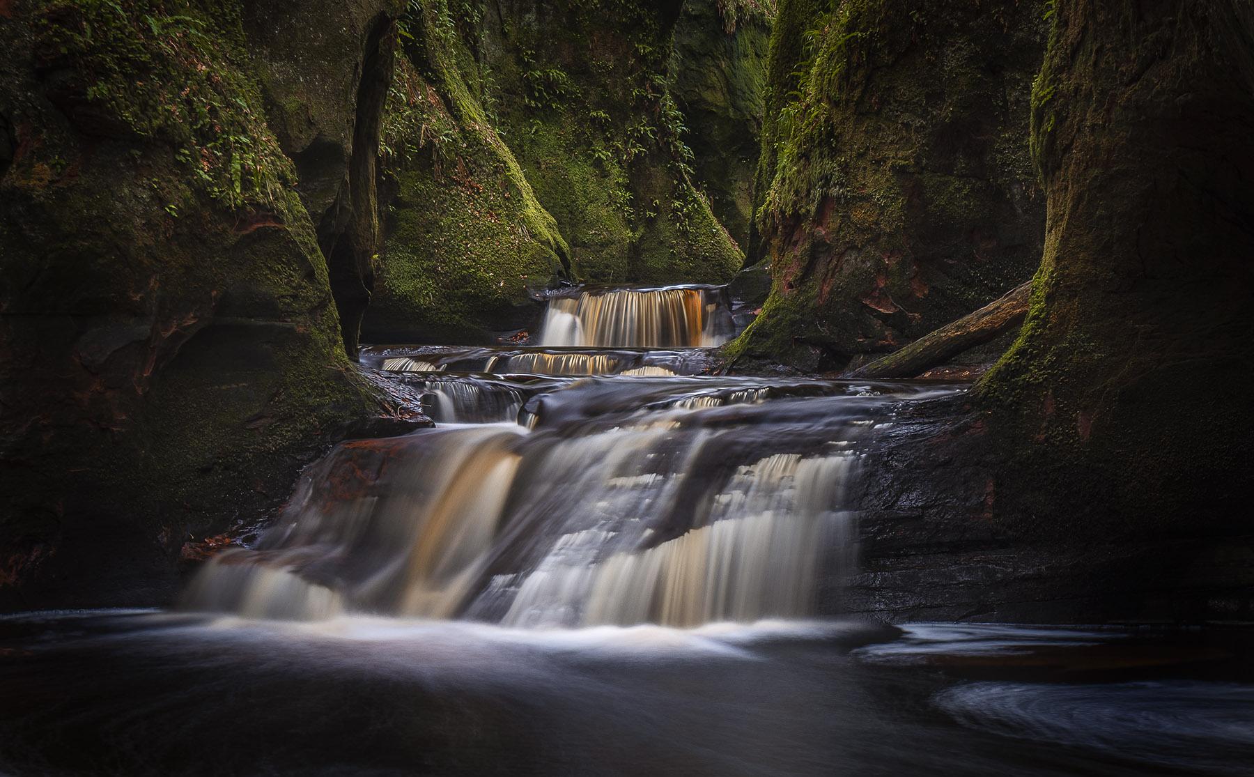 Finnich Glen falls